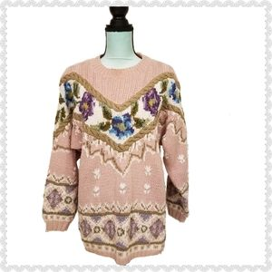 Cullinane Vintage Floral Hand Knitted Sweater M